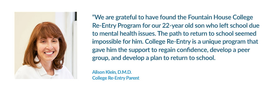 Program Testimonial from College Re-Entry Parent Alison Klein
