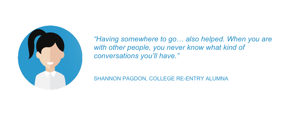 """Having somewhere to go… also helped. When you are with other people, you never know what kind of conversations you'll have."" - Shannon Pagdon, College Re-Entry Alumna"