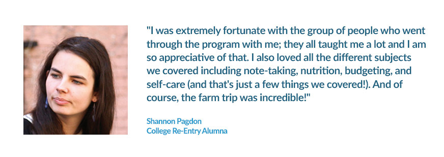Program Testimonial from College Re-Entry Student Shannon Pagdon